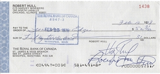 Bobby Hull signed personal check Hockey Hall of Fame