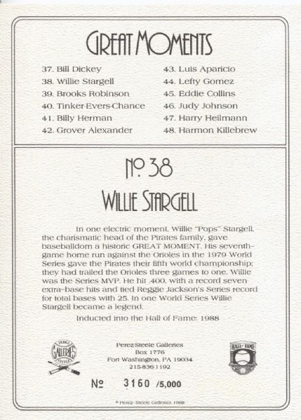Willie Stargell signed Perez Steele Great Moments Card
