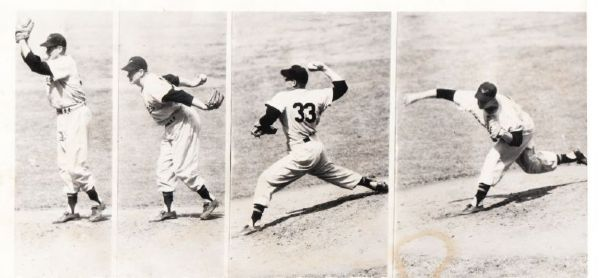 Bob Turley 1954 Baltimore Orioles Pitching Progession Shot 1st Year original photo