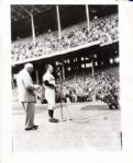 Bob Feller Honored in 1956 with Tris Speaker original AP wire photo