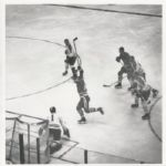 Bronco Horvath scores on Jacques Plante with Red Fleming original photo 1962