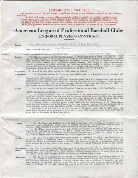 Johnny Broaca Signed 1935 NY Yankees Contract – Harridge