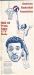 1968-69 ABA Press Radio & TV media guide First ABA guide Ever - Connie Hawkins