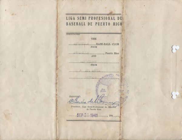 Dan Wilson Negro League Star Signed 1941-42 Aguadilla Puerto Rico Baseball Contract – Tragic Story