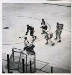 Stan Mikita scores on Jacques Plante original 1962 Stanley Cup photo