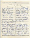 Ralph H. Young multi-signed 1955 Arch Ward Funeral Guest Book Page
