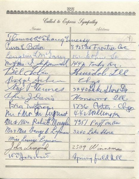 Thomas Augustin Gus O'Shaughnessy multi-signed 1955 Arch Ward Funeral Guest Book Page