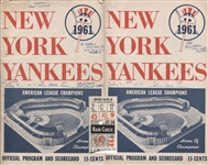 Roger Maris July 9, 1961 Yankees ticket stub Home Run #33 plus 2 Programs