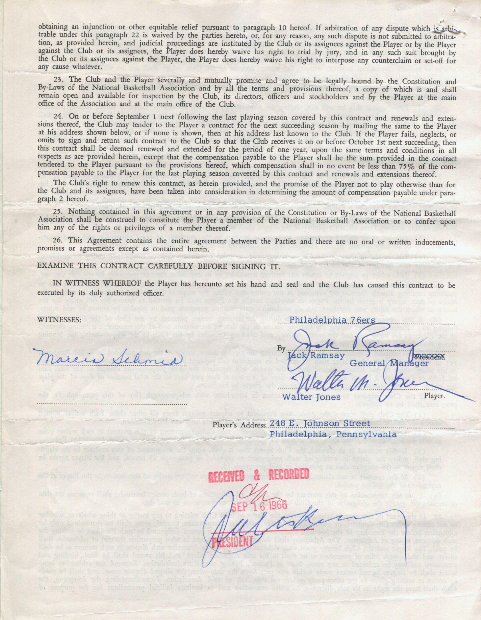 Walter kennedy signed 1966 nba philadelphia 76ers basketball contract