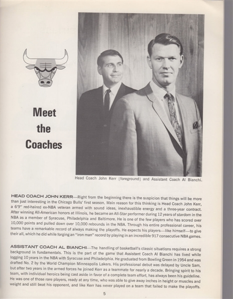 Guy Rodgers signed 1966-67 FIRST YEAR CHICAGO BULLS NBA Program