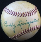 Paddy Livingston Single Signed Baseball Reds – A's – Cardinals D. 1977