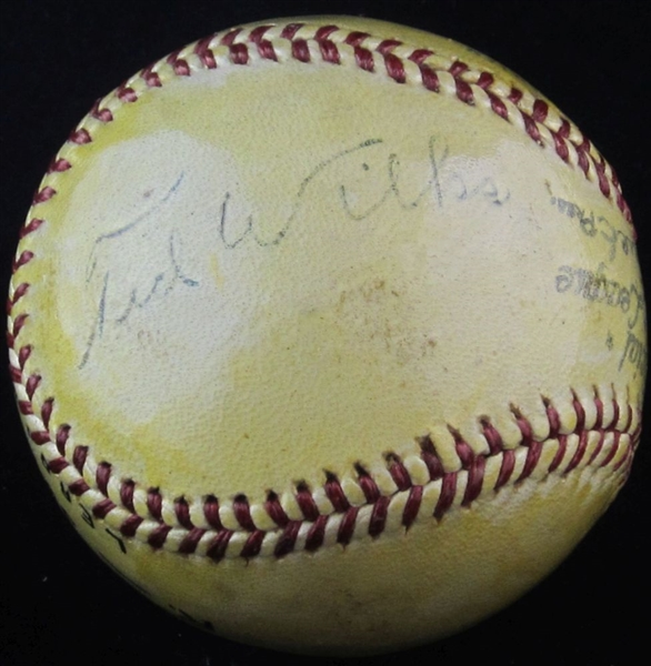 Ted Wilks Single Signed Baseball – Cardinals – Pirates - Indians PSA/DNA