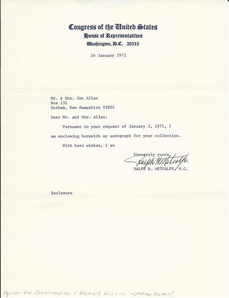 Ralph Metcalfe Signed Letter – Olympic Gold Medalist – Jesse Owens Counterpart JSA COA