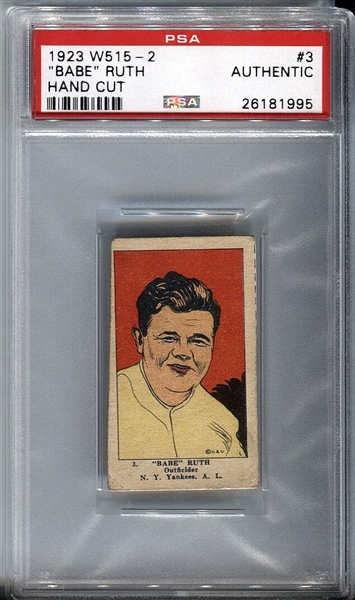 1923 W515-2 BABE RUTH #3 PSA Authentic - Hand Cut