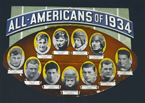 1934 All-Americans Cardboard Die cut Piece with Don Hutson Alabama