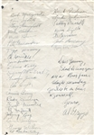 1945 Chicago Bears Team Signed Sheet with Paddy Driscoll