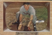 1955 Bowman Nelson Nellie Fox #33 Signed Baseball Card