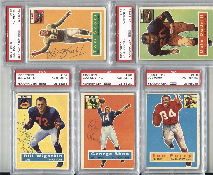Signed 1956 Topps Football PSA/DNA Encapsulated Set by 79