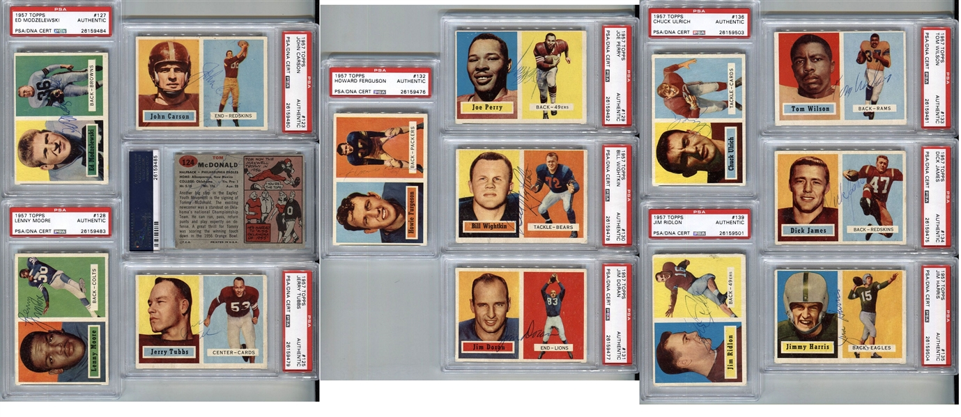 Signed 1957 Topps Football PSA/DNA Encapsulated Set by 122