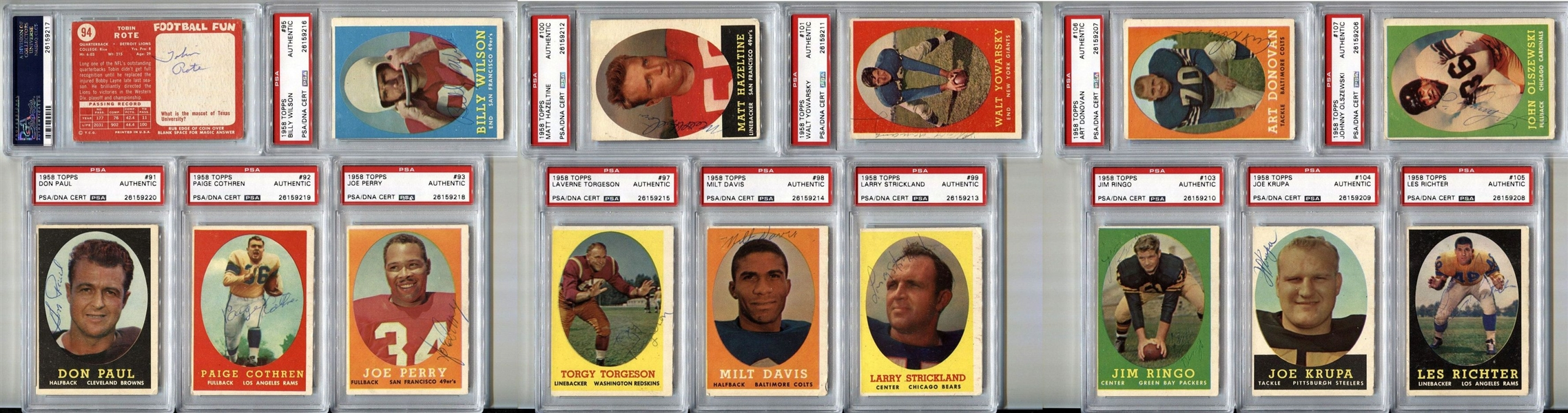 Signed 1958 Topps Football PSA/DNA Encapsulated Set by 91