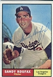 1961 Topps Sandy Koufax #344 Signed Baseball Card