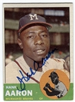 1963 Topps Hank Aaron #390 Signed Baseball Card