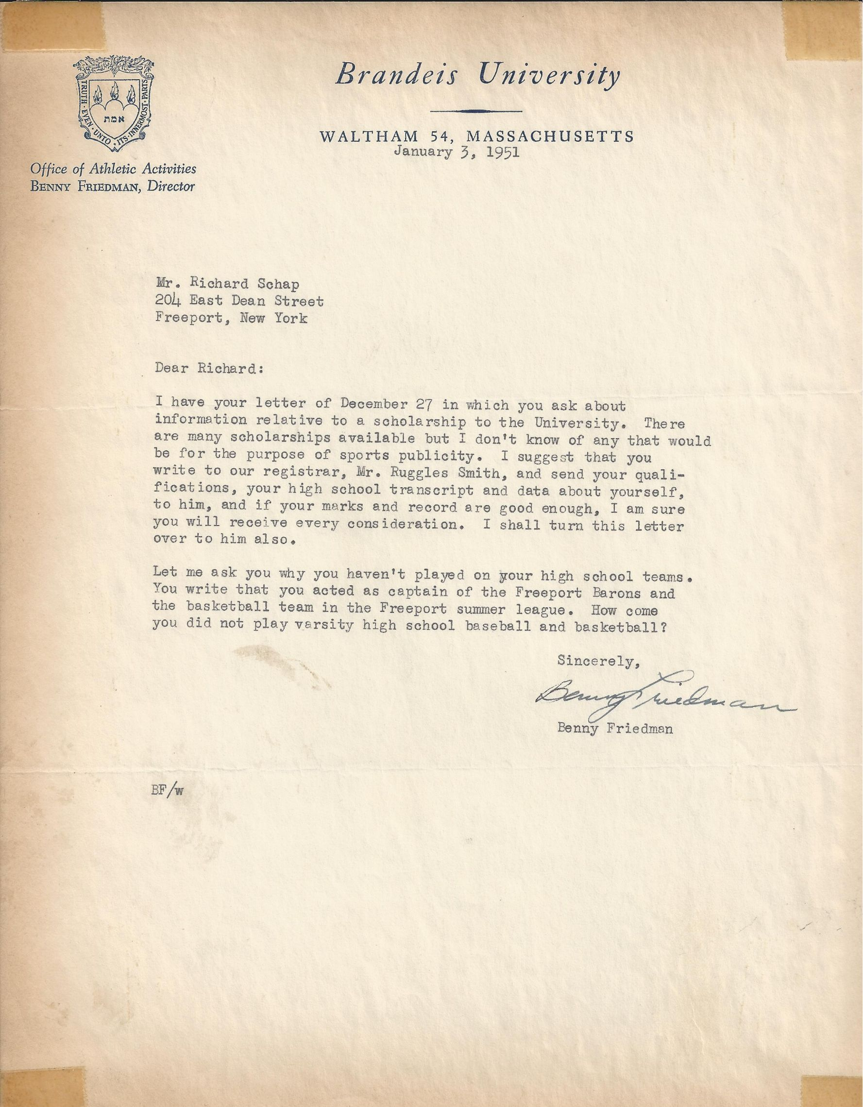 letter to the jews and a saints hall of fame lot detail benny friedman 1st nfl hof signed 1451