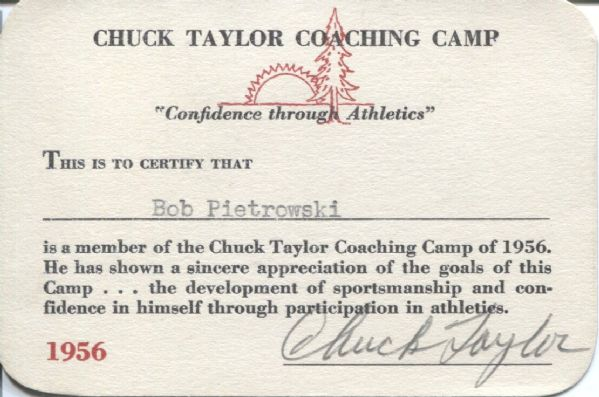 Chuck Taylor 1956 signed Camp Coaching Card  - HOF D. 1969