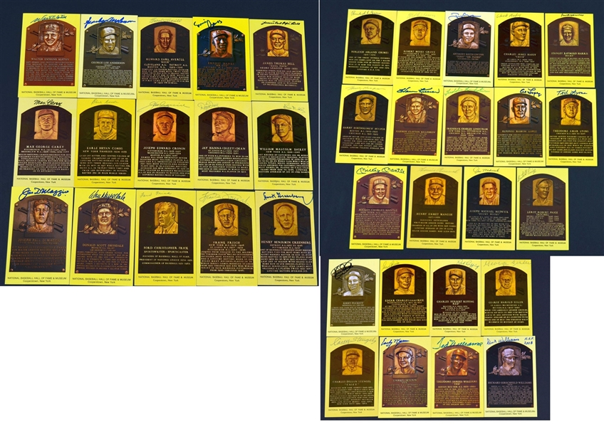 Incredible Collection of 37 Different Yellow Hall of Fame Plaque Postcards – Mantle – Paige – Puckett