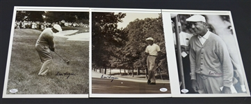 "Group of three (3) Ben Hogan autographed 11""x14"" B&W high quality print photos"