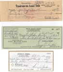 Lot of 3 Pro Football HOF Signed checks – Bell – Henry Jordan – George Trafton