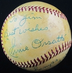 Ernie Orsatti Single Signed Baseball with Gas House Gang Inscription D. 1968