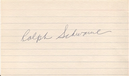 Ralph Blackie Schwamb Signed Index 3x5 Card Major League Mobster