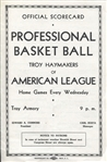 1938-39 ABL Basketball Troy Haymakers vs New York Jewels program