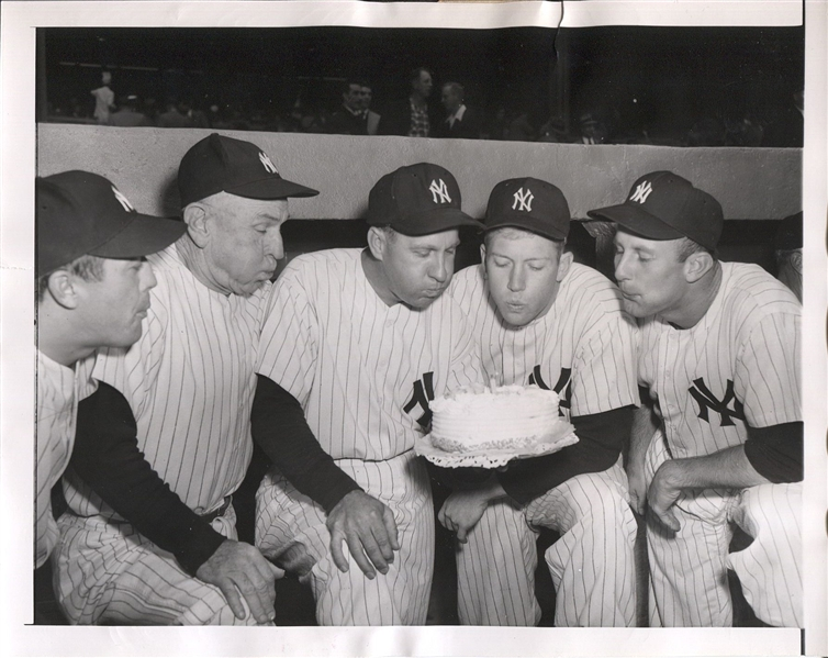 Mickey Mantle Helps Celebrate Teammate's Birthday Original 1954 Photo