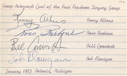 The Four Freshman 1963 Signed Vintage Index 3x5 card