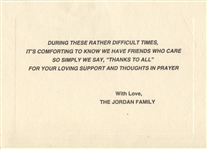 Michael Jordan – James Jordan Family Thank you Condolence Card