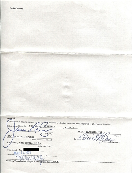 Jim Fregosi  Signed  1974 Texas Rangers Major League Baseball contract