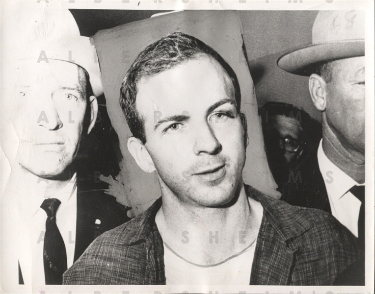 1963 Lee Harvey Oswald - Handcuffed Assassin - at the Dallas Jail original Photo
