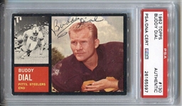 1962 Topps #130 Buddy Dial Signed Autographed Football Card Steelers D.2008 PSA