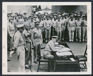 1945 Chester Nimitz Signs Japanese Surrender on USS Missouri Original Photo Ending WWII in the Pacific