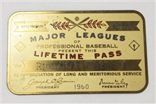 HOFer Dick Williams Major League Lifetime Gold Pass