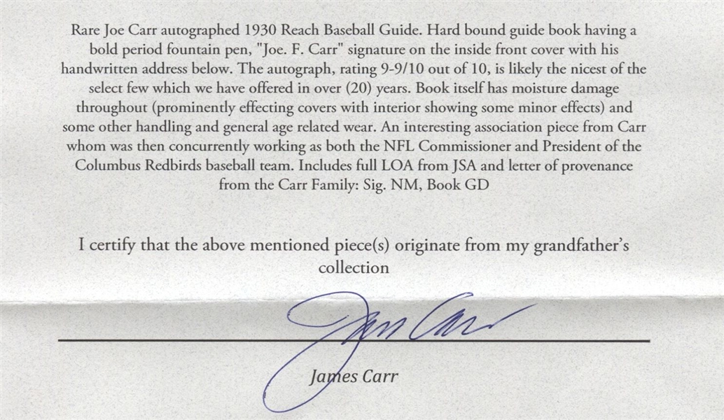 Joe Carr Signed Reach Baseball Guide – Super RARE Football HOF Autograph D.1939