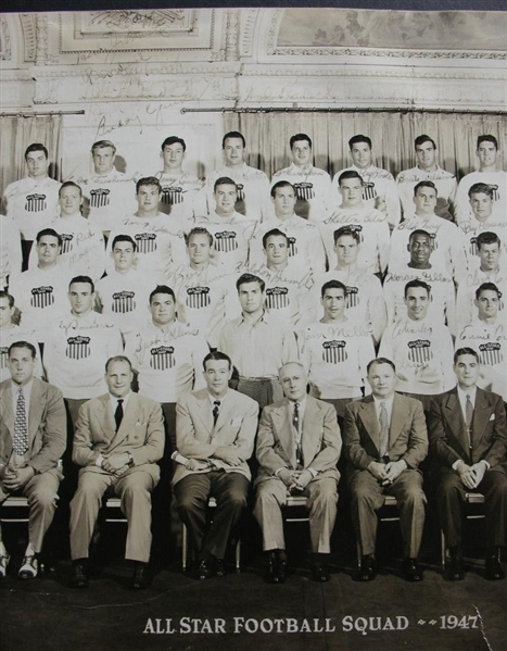 1947 College Football All-Star Team signed Photo with 50 Plus Autographs & Game Program