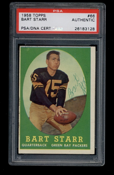 1958 Topps Bart Starr signed autographed card #66 Green Bay Packers