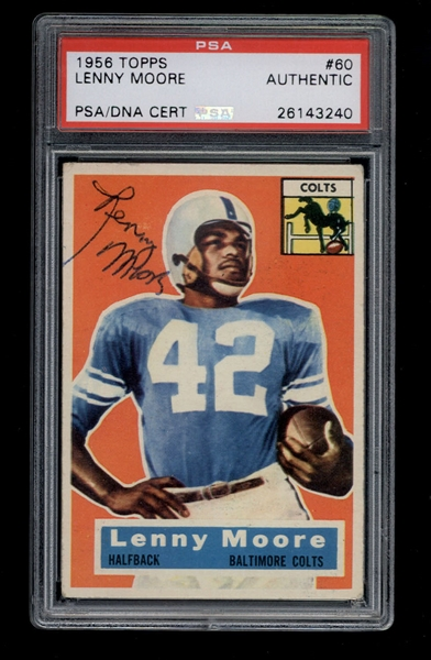 1956 Topps Lenny Moore #60 signed football card Rookie Card Baltimore Colts PSA/DNA