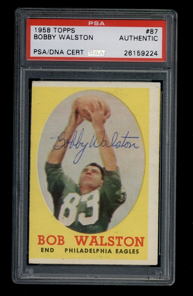 1958 Topps #87 Bobby Walston signed Topps football card D.1987 Eagles