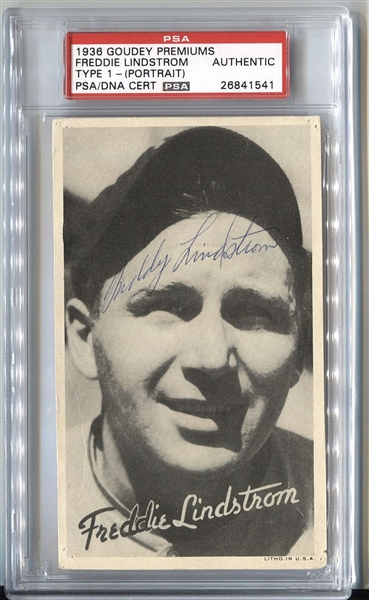 Fred Lindstrom  1936 Goudey Wide Pen Premiums R314  Signed  PSA/DNA