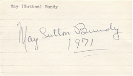 May Sutton Bundy signed 3x5 Index Card 1st Wimbledon Championship D. 1975