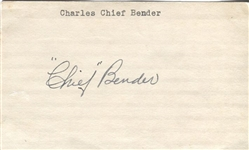 Chief Bender Signed 3x5 Index Card D. 1954 Baseball HOF